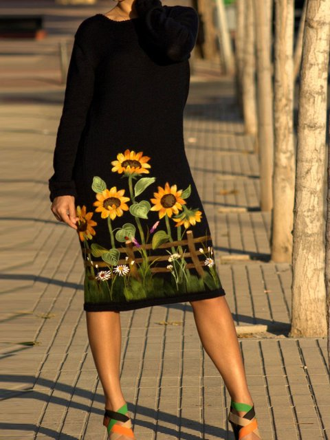 Women Black Floral Long Sleeve Dresses