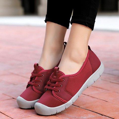 Women's Flat Heel Lace Up Plus Size Sneakers