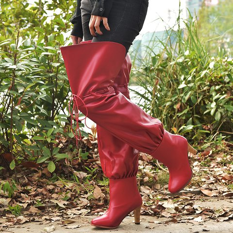 Plus Size Thigh High Boots Womens Winter Slip On High Boots