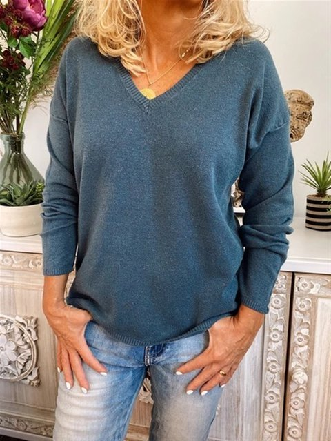 Solid Long Sleeve V Neck Casual Sweater