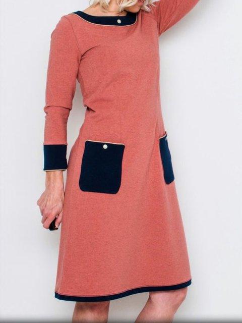 Solid Color Patch Pocket Crew Neck A-Line Casual Dresses