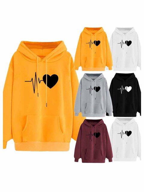 Long Sleeve Casual Plain Hoodie Sweatshirt