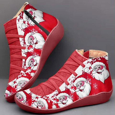 Christmas Women Boots Plus Size Flat Heel Round Toe Zipper Party Booties Shoes