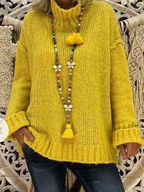 Solid Sweater Plus Size Turtle Neck Knit Jumper