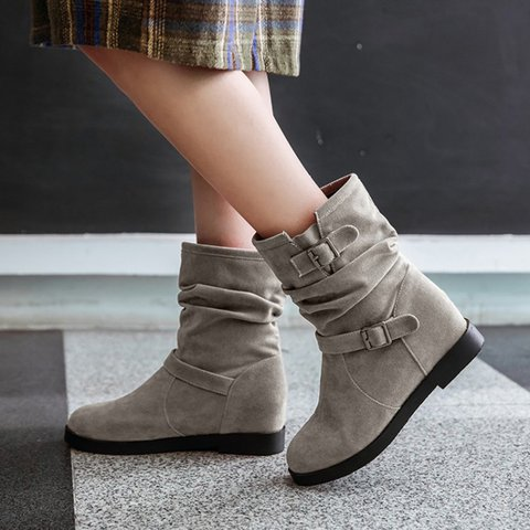 Womens  Winter  Heel Button Daily Boots