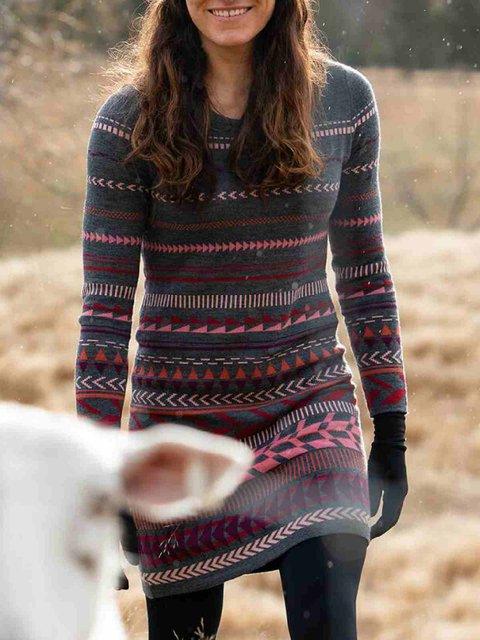 Multicolor Cotton-Blend Long Sleeve Dresses