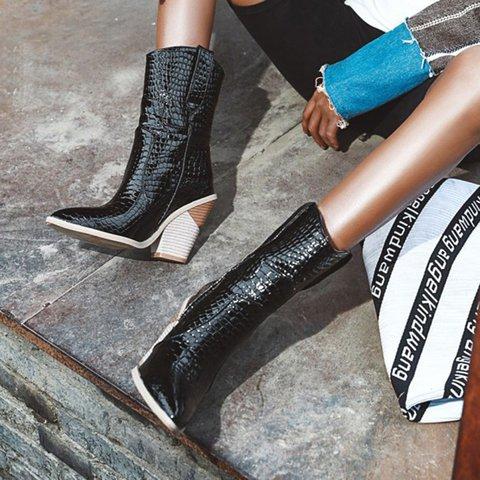 Womens Plus Size Block Heel Boots