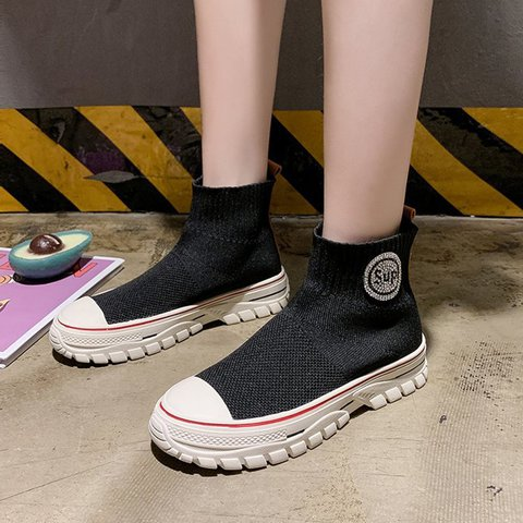 Women Ankle Boots Slide Creepers Heel Casual Fly-Woven Fabric Wedge Heel Shoes