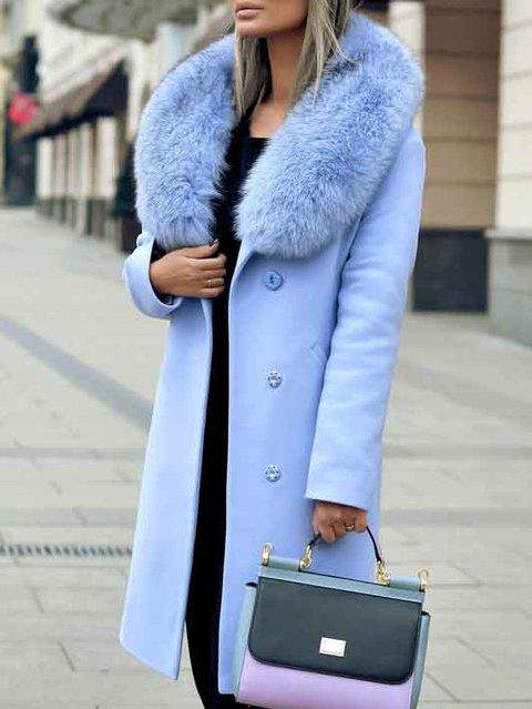 Light Blue Casual Wool Shift Outerwear