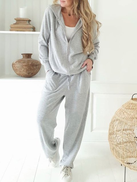 Women Casual Knitted Long Sleeve Casual Hoodie Solid Suits