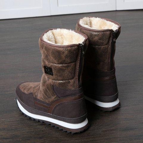 Women's  Brown Snakeskin Flat Heel Winter Mid-Calf Boots
