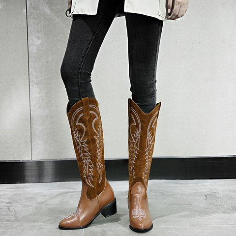 Women Winter Chunky Heel Long Boots