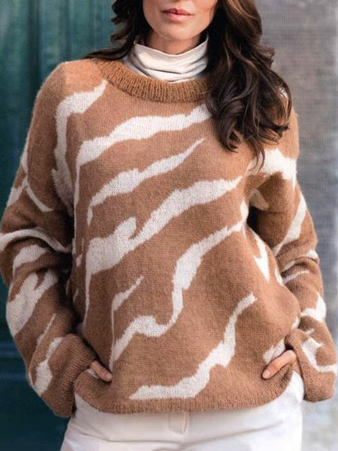 Printed Sweater Women Plus Size Jumper
