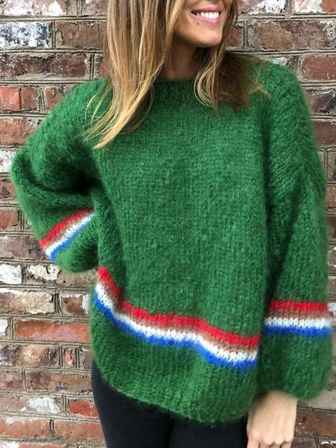 Striped Sweater Women Plus Size Knit Jumper