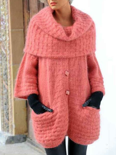 Solid Pockets Knit Cardigan Plus Size Sweater Coat