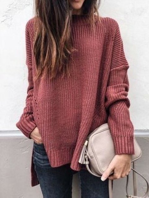 Solid Stand Collar Sweater Women Plus Size Jumper