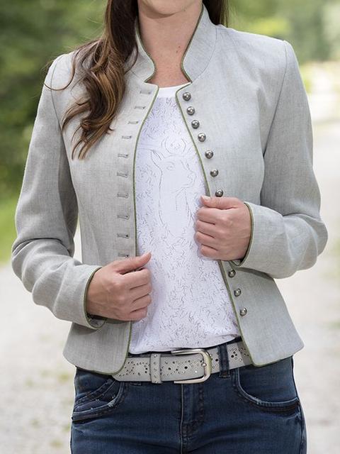 Light Gray Cotton-Blend Casual Outerwear