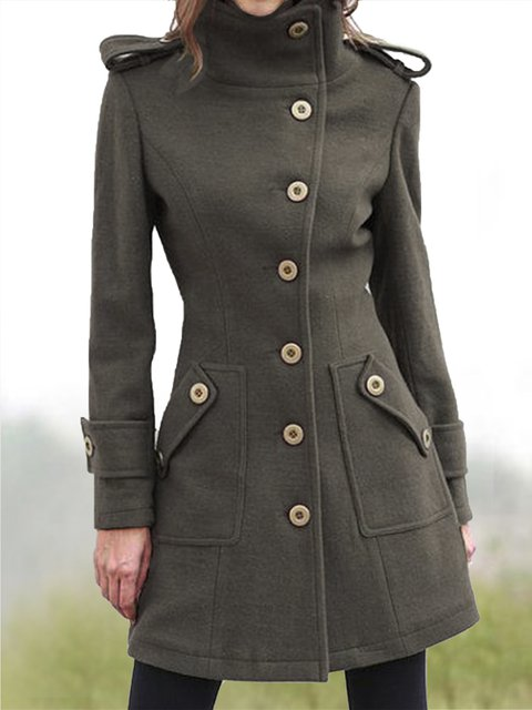 Vintage Wool Blend Long Sleeve Outerwear