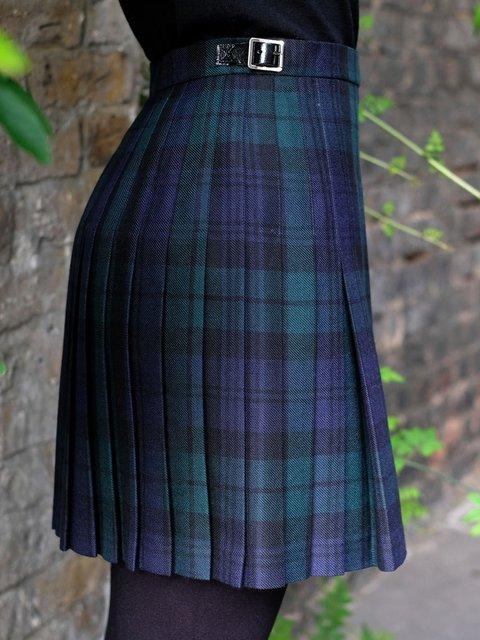 Green Paneled Wool Blend Vintage Plaid Skirts