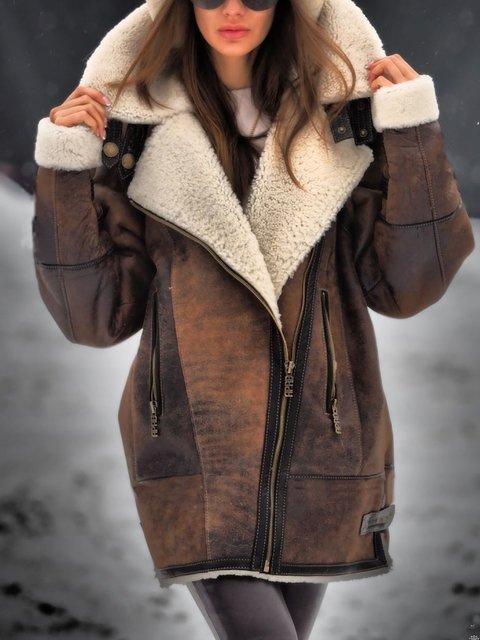 Brown Shawl Collar Long Sleeve Plain Paneled Outerwear