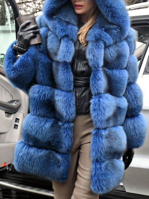Women Faux Fur Hoodie Winter Coats