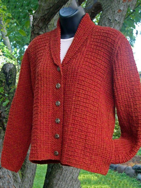 Women Buttoned Pockets Shawl Collar Sweater Cardigans