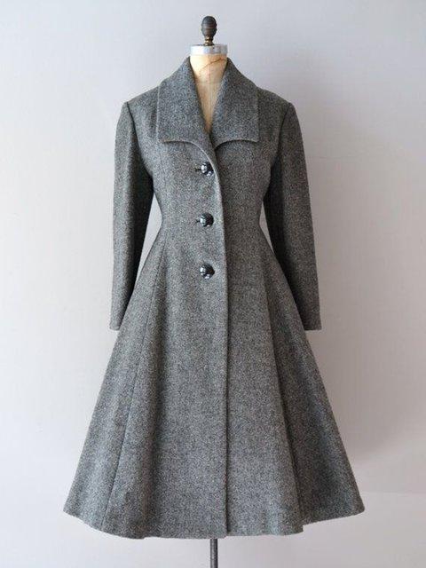 Women Buttoned Lapel Vintage Elegant Dress Coats