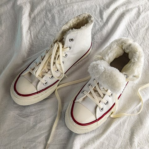 Canvas Snow Sneakers High Top Lace-Up Warm Shoes