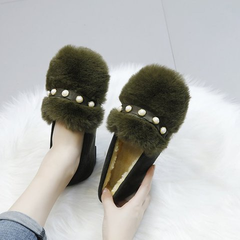 Flat Heel Slip On Faux Fur Pearl Casual Shoes
