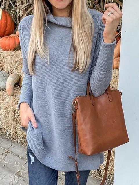 Solid Cowl Neck Sweater Plus Size Knit Jumper