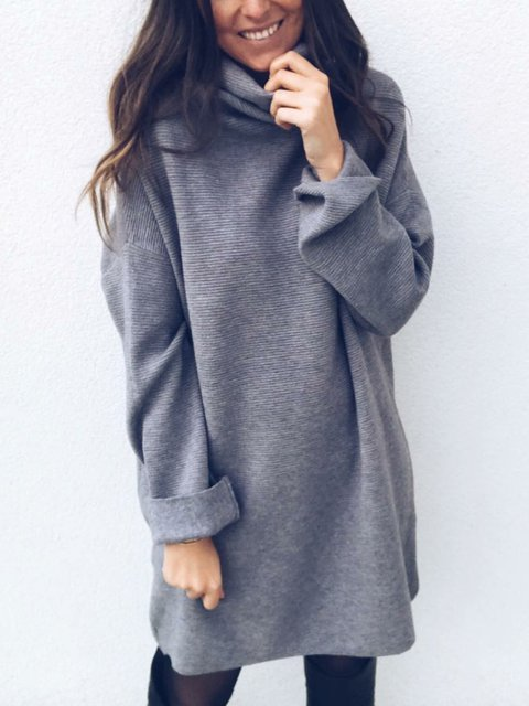 Solid Long Sweater Plus Size Knitted Jumper