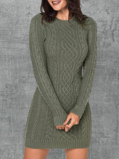 Green Long Sleeve Knitted Dresses