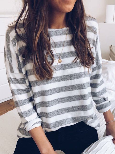 Striped Boat Neck Sweater Plus Size Knit Shirt