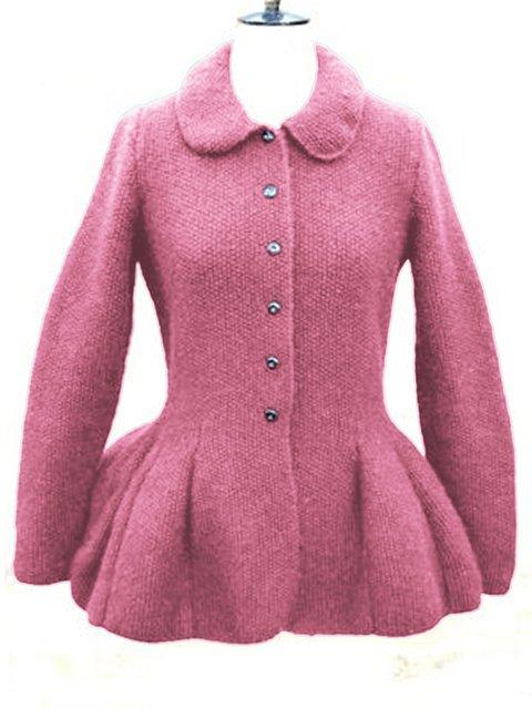 Solid Knit Cardigan Plus Size Shawl Collar Sweater