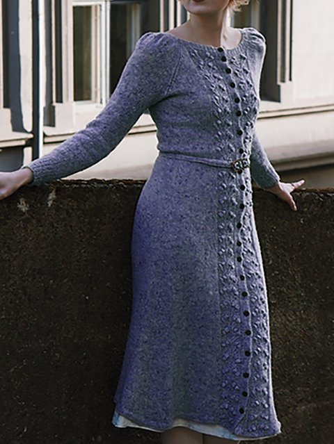 Crew Neck Shift Date Vintage Knitted Dresses
