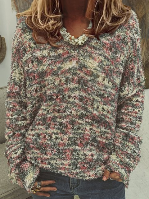 Polka Dots Boho Knitted Sweater