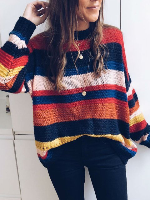 Multicolor Striped Knitted Sweater