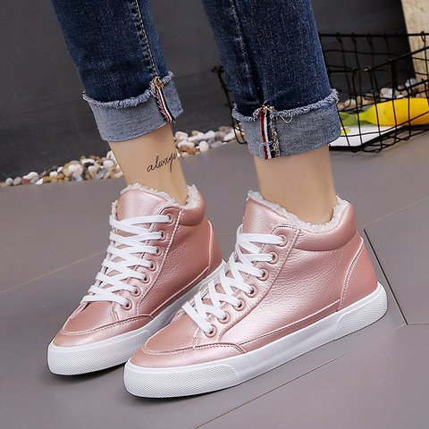 Women Casual Cloth Flat Heel Lace-Up Sneakers