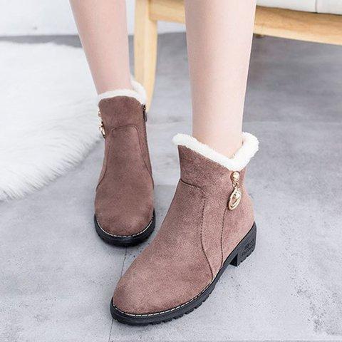 Women Round Toe Warm Snow Boots Zipper Artificial Suede Shoes