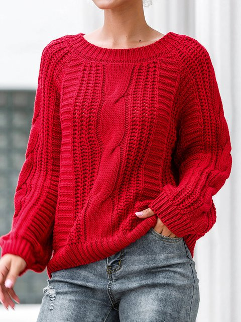 Crew Neck Chunky Knitted Sweater