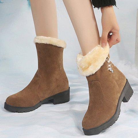 Slip-On Chunky Heel Mid-Calf Snow Boots Warm Shoes