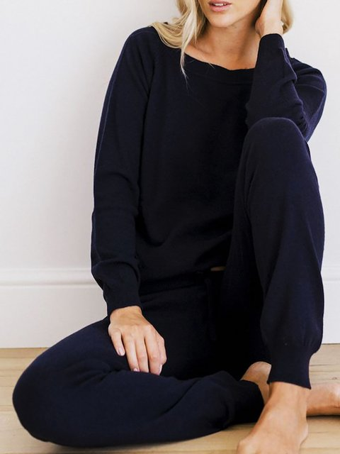 Basic Knitted Crew Neck Loungewear Suits