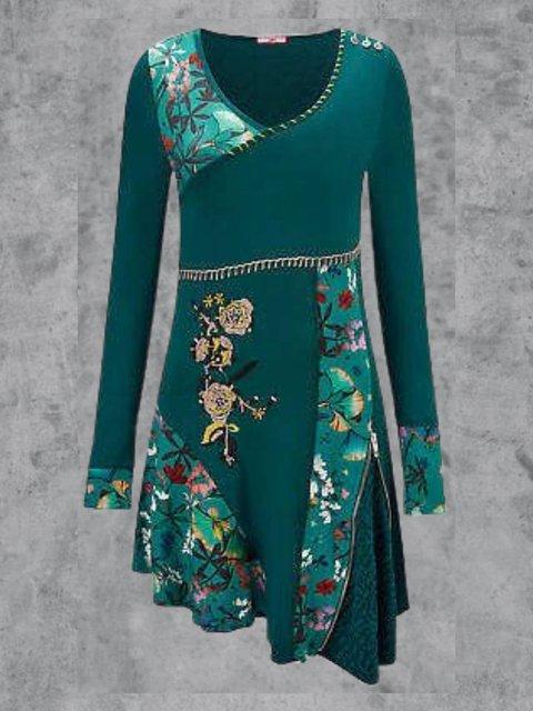 Plus Size Casual Floral-Print Dresses