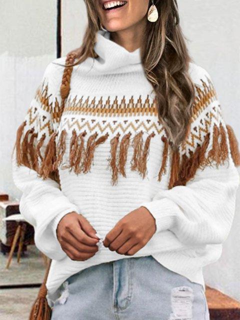 Turtleneck Tribal Long Sleeve Vintage Shirts & Tops