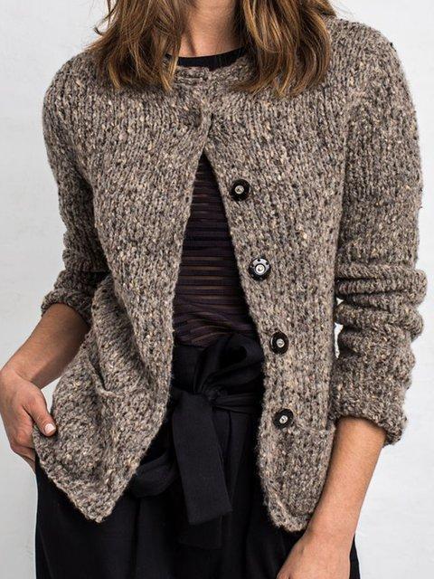 Khaki Cotton-Blend Buttoned Vintage Outerwear