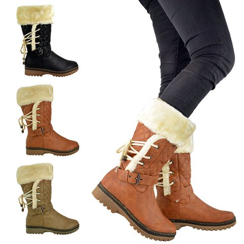 Womens Winter Furry Mid-Calf Snow  Boots Plus Size Shoes