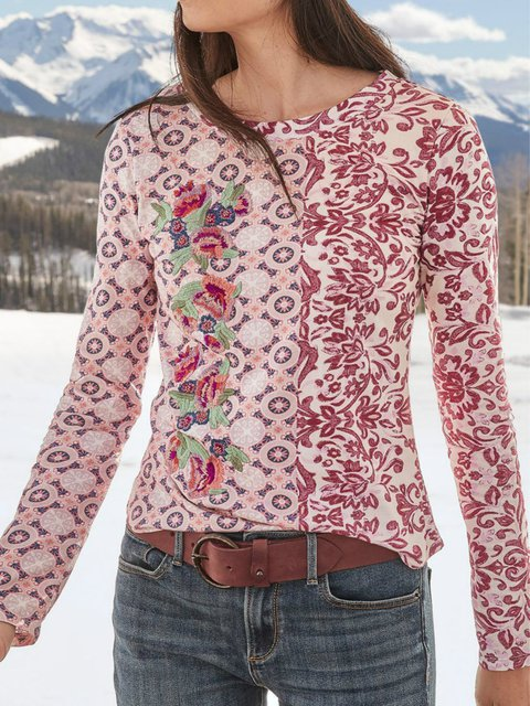 Pink Round Neck Long Sleeve Shirts & Tops