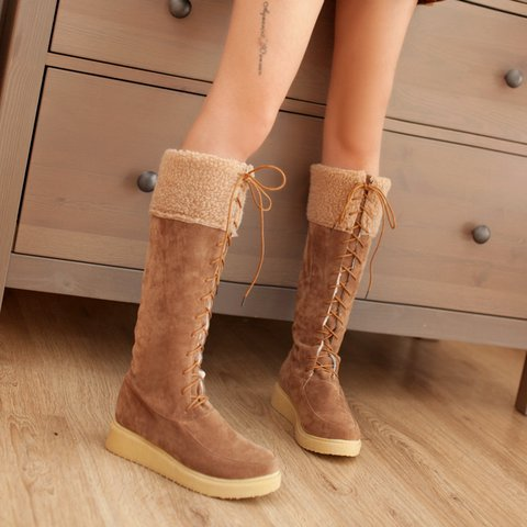 Women's Faux Suede Flat Heel Winter Long Boots