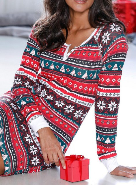 Christmas Long Sleeve Crew Neck Geometric Cotton Dresses