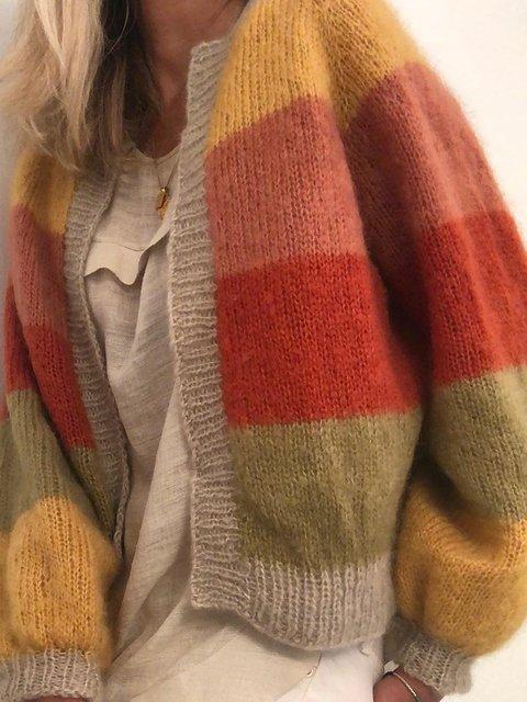 Plus Size Knit Cardigan Women Vintage Sweater